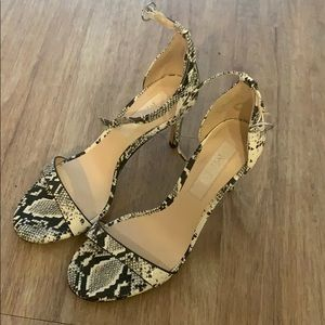 Snake skin open toe heel with strap